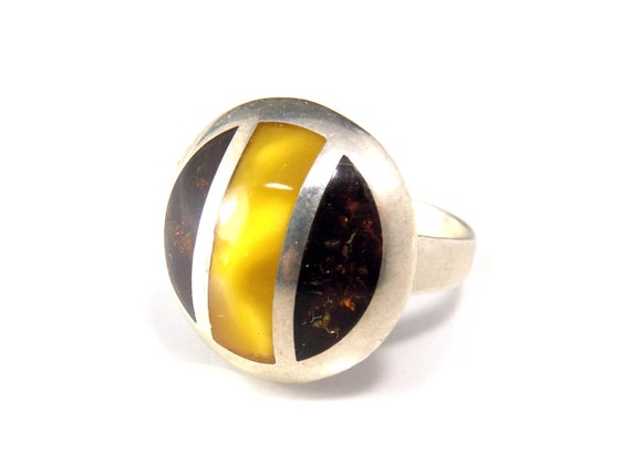 Amber Inlay Dome Ring, Vintage Chunky Sterling Sil