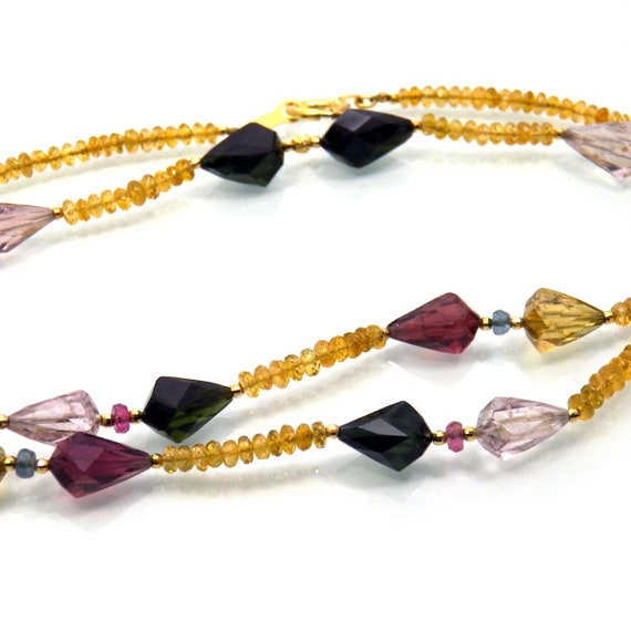14K Solid Yellow Gold Multi-Colored Natural Tourmaline Necklace Vintage Over 18 Inches Long Nearly 6 Grams October Birthstone Wedding