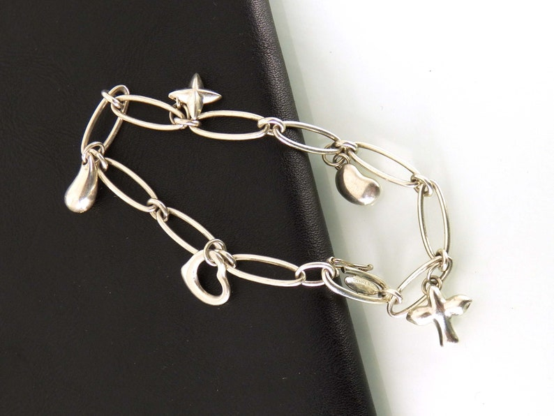 a31b597c21358 Tiffany & Co Elsa Peretti Five Charm Bracelet Sterling Silver Designer  Jewelry
