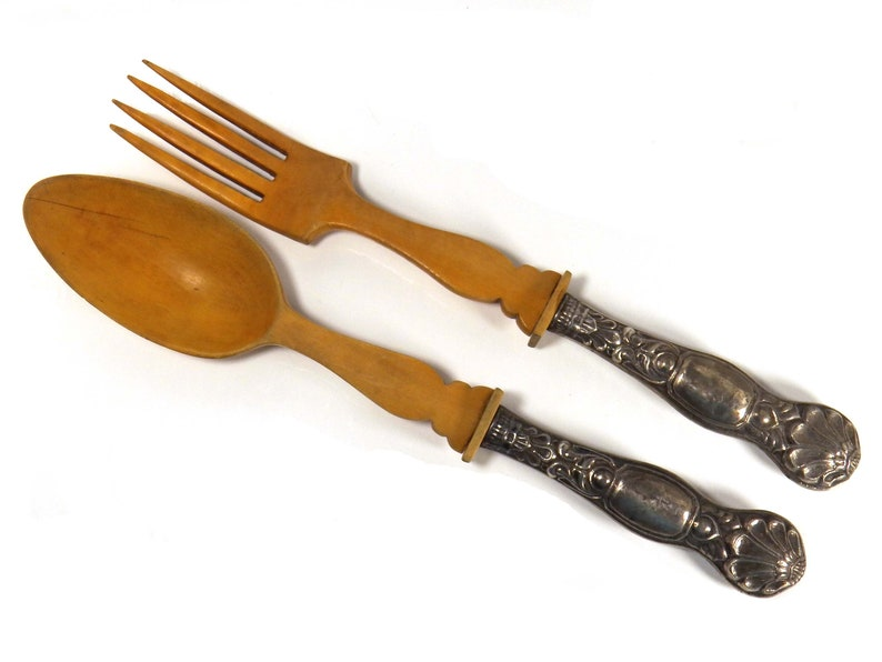 18th Century Antique Salad Servers Set, Spoon  Fourche, 812 Silver Wood German Cutlery