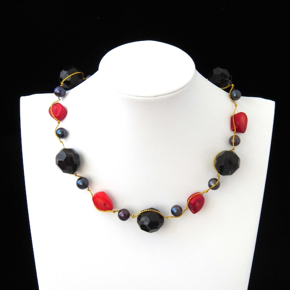 Natural Black Onyx and Red Coral Gemstone Long Layered 5 Strand Beaded Necklace