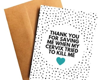 e2ae2583 Cervical Oncologist Thank You Card Doctor Thank You Card Cancer Doctor Cervical  Cancer for Oncologist Funny Cancer Card for Cervical Doctor