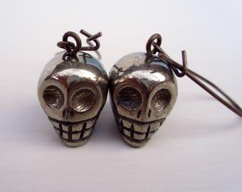 Fool's Gold Skull Earrings