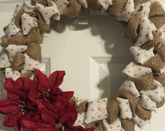 Burlap bubble wreath with poinsettia