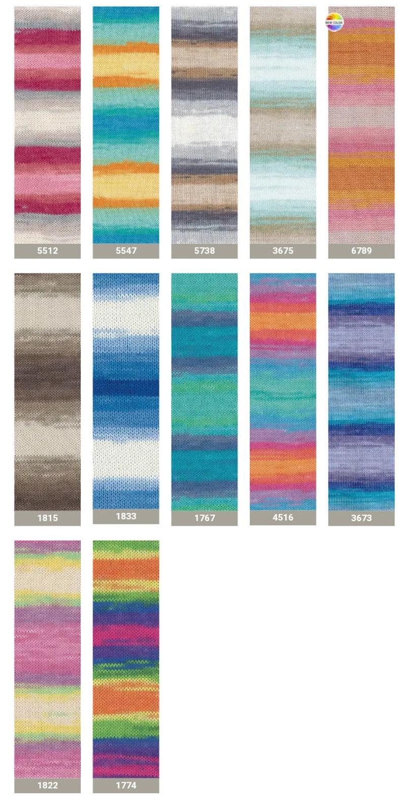 baby yarn bikini yarn Free fast shipping 13 skeins Alize Bahar batik knitting yarn Crochet yarn 100/% mercerized Cotton