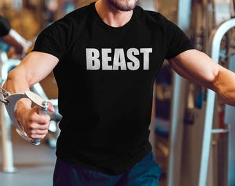 19e5e00d1b Beast - Mens Gym T-Shirt - Workout - Lifting - Train - Bodybuilding -  Powerlifting - Weightlifting - Fitness - Motivation - Exercise