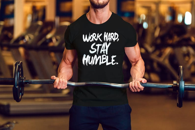 30635c20ca876 Work Hard Stay Humble Mens T Shirt Gym Workout Lift | Etsy