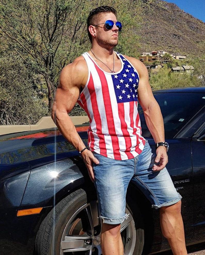 0199f7d348dd9 American Flag Men s Workout Tank Stringer Tank