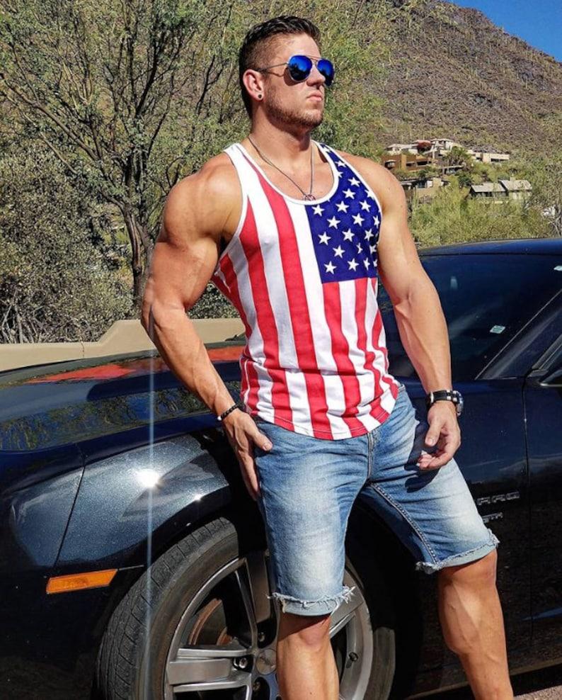 6f5f19624047f American Flag Men Stringer Tank Fourth of July Tank Gym