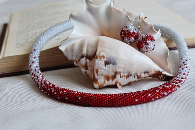 Set beaded jewerly Necklace beads Beaded harness Red necklace of beads Silver necklace beads Earrings from beads Knitted set of beads