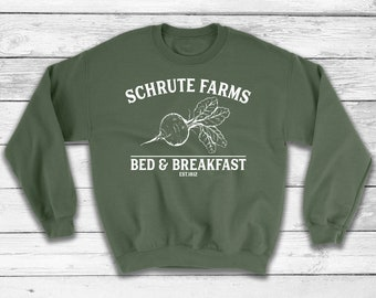 4437f3540 Schrute farms Bed and Breakfast Sweatshirt, Schrute farms beets, Schrute  farms shirt, The Office Sweater, Dwight Schrute, Michael Scott