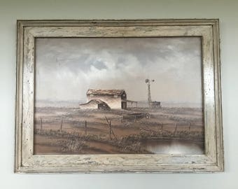 Sepia tone oil painting with hand-finished frame