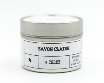 THREE – Rich Fruit, Floral, Warm Woods -Travel Tin Candle