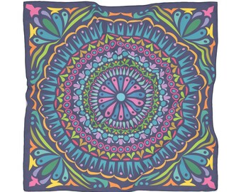 Chic Mandala Sapphire Poly Scarf Bohemian Geometric Scarf Hipster Boho Festival Outfit Psychedelic Hippie Clothing  Accessories