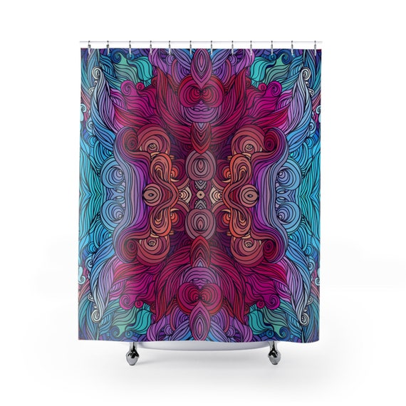 Psychedelic Shower Curtain Boho Decor Hippy Tribal