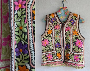 Reversible Earth Tone Floral to Solid Black Vest