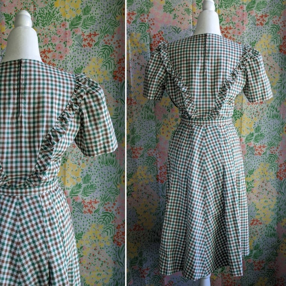 Late 1930s Green Gingham Cotton Dress | 1930s/194… - image 3