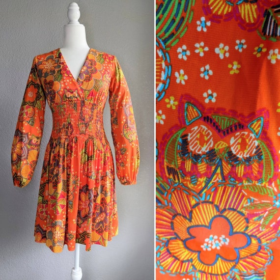 Owl Print 1960s/1970s Long Sleeve Dress | 1970s Fl