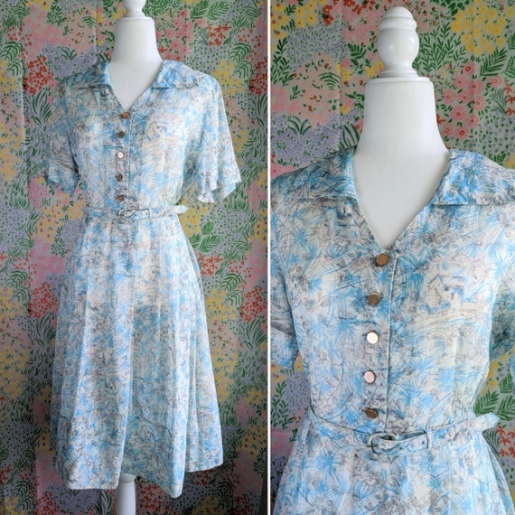 Novelty Mill House Print Nelly Don Blue Shirt Dres