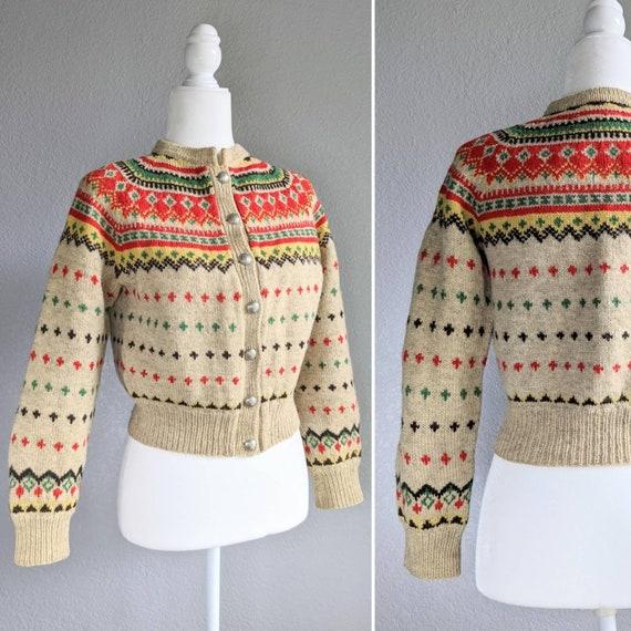Fair Isle Wool Sweater | Vintage 1940s Style Sweat