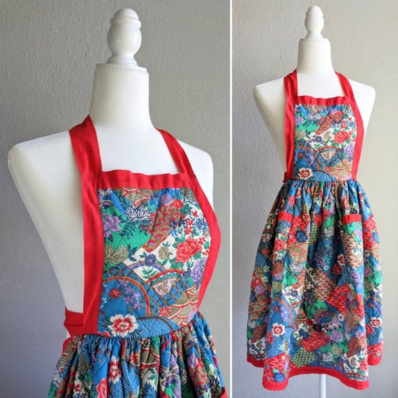 Quilted Floral Full Apron | Vintage Red and Floral