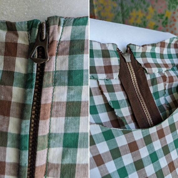 Late 1930s Green Gingham Cotton Dress | 1930s/194… - image 10