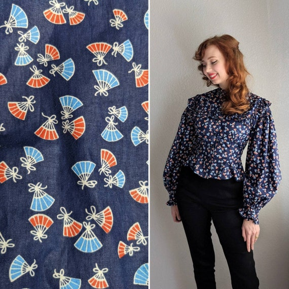 Novelty Print Navy Blue and Coral Color Blouse | 1