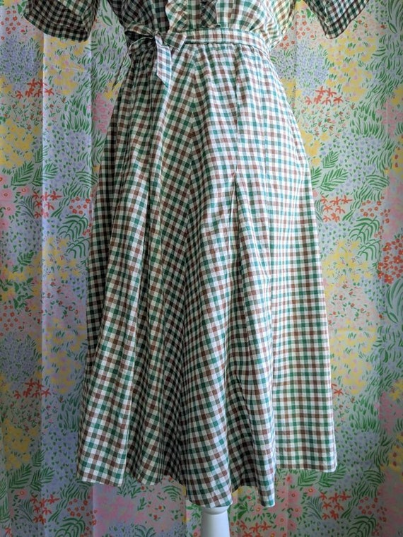Late 1930s Green Gingham Cotton Dress | 1930s/194… - image 8