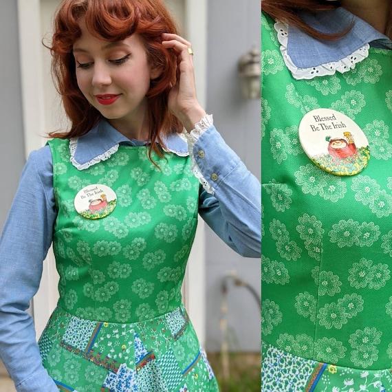 1960s/1970s Green Patchwork Mini Dress | Floral P… - image 2