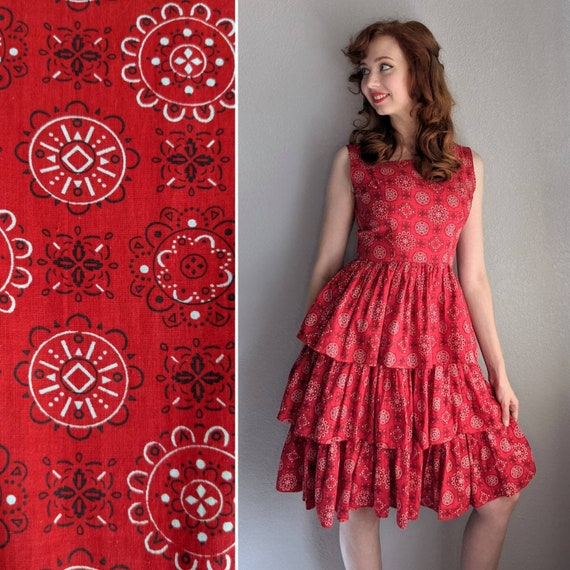 1950s/Early 1960s Red Bandana Print Tiered Dress |