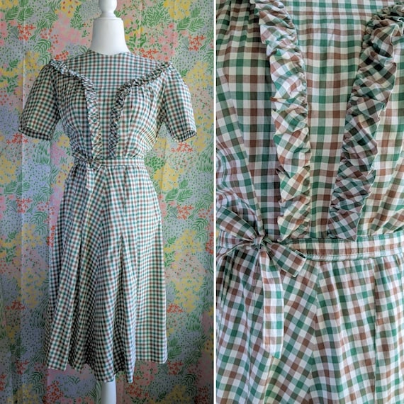 Late 1930s Green Gingham Cotton Dress | 1930s/194… - image 2