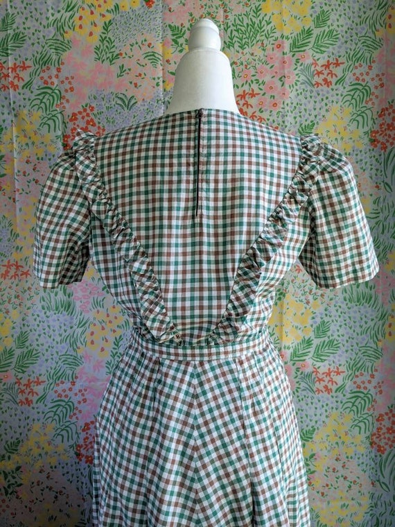 Late 1930s Green Gingham Cotton Dress | 1930s/194… - image 5