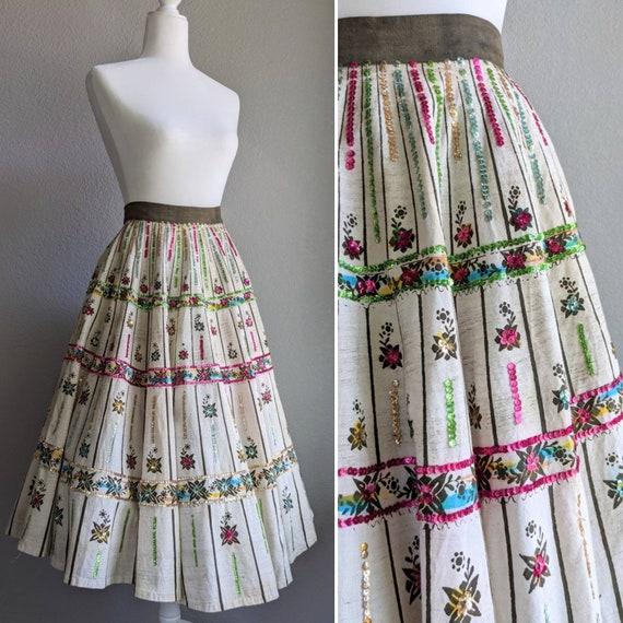 1950s Maya De Mexico Circle Skirt | Green Sequined
