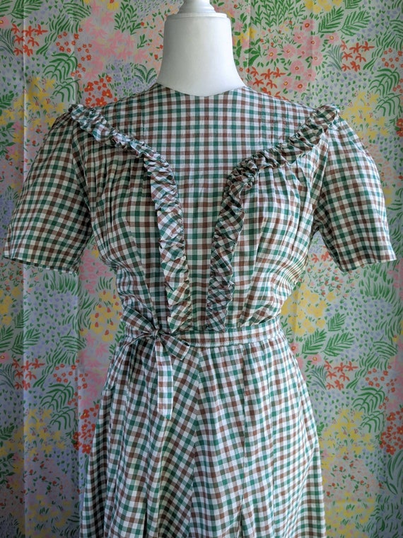 Late 1930s Green Gingham Cotton Dress | 1930s/194… - image 4
