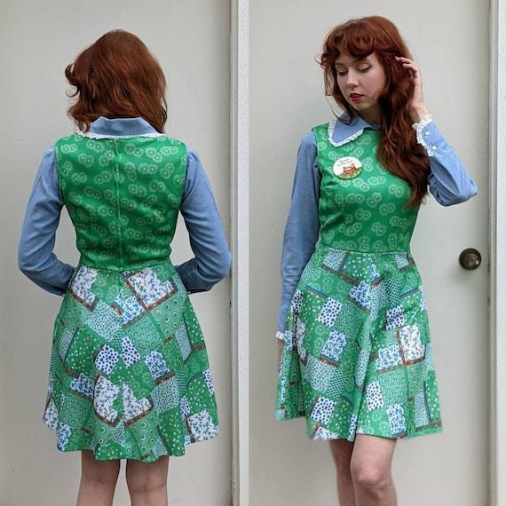 1960s/1970s Green Patchwork Mini Dress | Floral P… - image 3