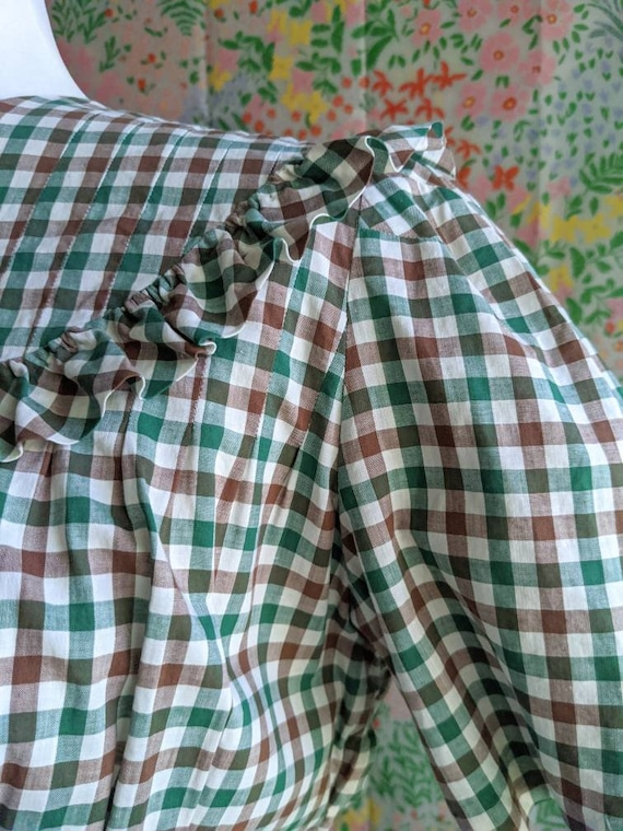 Late 1930s Green Gingham Cotton Dress | 1930s/194… - image 7