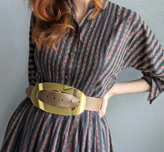 Oversized Mid Century Gold Belt | 1950s Gold and G