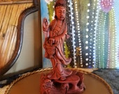 Vintage Asian Woman Hand Carved Wooden Sculpture Folk Art Chinese Dragon Stand