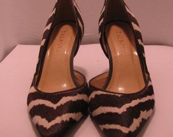 Talbots size 5 1/2 zebra print pump with 3-inch heel
