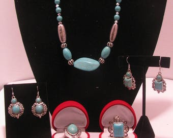 Five- Piece Turquoise Jewelry Set
