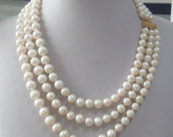 Pearl Necklace Triple Strand 9-10 mm