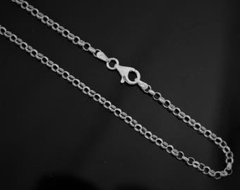 1mm Womens 925 Sterling Silver Cable Link Rolo Chain Necklace 16,18,20,22,24 in