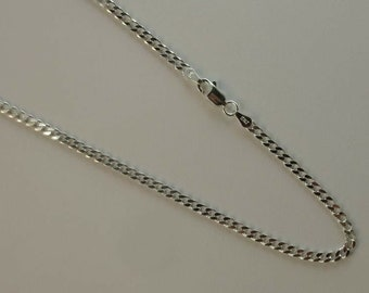 Lobster Silver Chain 3.2MM Silver Concave Figaro 080