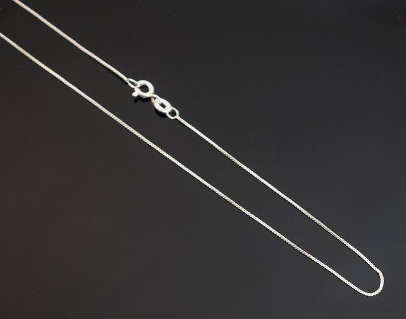 e3a72431598 Sterling Silver Box Chain 0.7mm Thin Fine Necklace. image 0