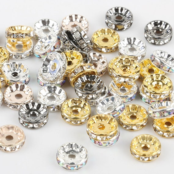 50pcs 10mm Spacer Loose Beads for DIY Jewelry Making Copper Beads 2mm Hole