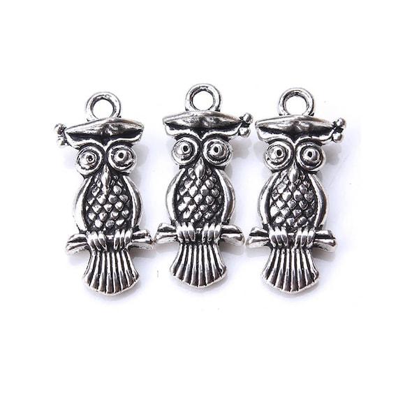 30pcs Bulk Vintage Antique Silver Tone Owl Alloy Charms Pendants DIY Jewelry