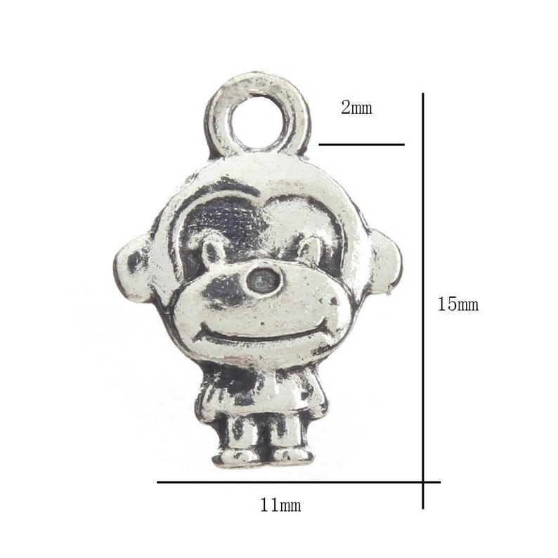 20 Antique Silver Colour 16 x 13mm Cute Monkey Charms