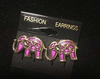 Purple elephant stud earrings