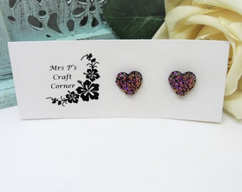 Buffalo Bulls Heart Stud Earring See Image on Model for Size Reference