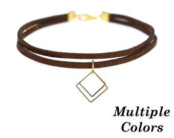 Two Layer Leather Choker With Square Charm